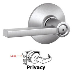 Modern Door Hardware - Schlage Door Hardware - Privacy Latitude Door Lever in Satin Chrome