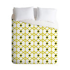 DENY Designs - Heather Dutton Annika Diamond Citron Duvet Cover - Turn your basic, boring down comforter into the super stylish focal point of your bedroom. Our Luxe Duvet is made from a heavy-weight luxurious woven polyester with a 50% cotton/50% polyester cream bottom. It also includes a hidden zipper with interior corner ties to secure your comforter. it's comfy, fade-resistant, and custom printed for each and every customer.