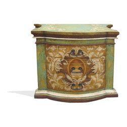 Patricia Nightstand, Distressed Fresco Green, Turquoise, Mahogany, and Scrolls - Patricia Nightstand, Distressed Fresco Green, Turquoise, Mahogany, and Scrolls