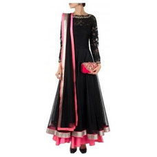 Black floral lace embroidered anarkali available only at Pernia's Pop-Up Shop.