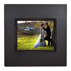 "MyBarnwoodFrames - Chocolate Brown Wood Deep Box Chunky Frame, 8x10 with Lightly Distressed (Sanded - Solid Wood 8x10 picture frame, chocolate brown with deep 2.5 inch profile. A deep, chocolate brown paint with a clear-coat lacquer highlights this unique picture frame with an 8x10 photo opening. From the front, the frame profile includes a 3.75 wide ""box frame"" with a 3/4 inch decorative molding that highlights the inside edge. Together they form a frame that is just under 4 inches wide and stands 2-1/4 inches away from the wall surface. Remove cardboard backing easily by bending up flexible push points in the back of the frame to install your own photograph or print, then replace the cardboard and bend push points back into place."