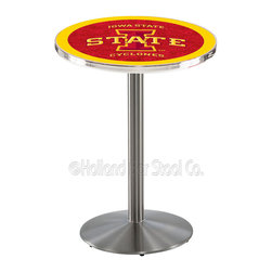 Holland Bar Stool - Holland Bar Stool L214 - Stainless Steel Iowa State Pub Table - L214 - Stainless Steel Iowa State Pub Table belongs to College Collection by Holland Bar Stool Made for the ultimate sports fan, impress your buddies with this knockout from Holland Bar Stool. This L214 Iowa State table with round base provides a commercial quality piece to for your Man Cave. You can't find a higher quality logo table on the market. The plating grade steel used to build the frame ensures it will withstand the abuse of the rowdiest of friends for years to come. The structure is 304 Stainless to ensure a rich, sleek, long lasting finish. If you're finishing your bar or game room, do it right with a table from Holland Bar Stool. Pub Table (1)