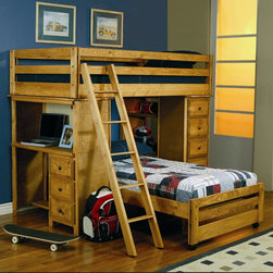 Twin over Twin Loft Bed with Built-In Desk -