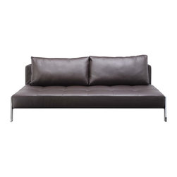 Creative Furniture - Spider Brown Leather Sofa Bed - This simple yet multi-functional Spider Brown Leather Sofa Bed is from Creative Furniture. Add instant appeal anywhere it's placed. The steel frame has a chrome and black finish showcasing its contemporary style accenting on its unique shape. Ideal for a living, family room or even a bedroom, the sofa bed offers unbeatable style and comfort. Add a stylish and functional touch to your living room!    Features: