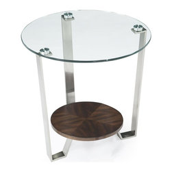 Magnussen Furniture - Pollock Round End Table - Constructed from glass, metal and walnut veneer over MDF. All pieces are KD for shipping. All pieces feature 10mm clear tempered glass polished pencil edge w/o bevel on top. All pieces feature bottom wooden shelf. All pieces feature metal legs and aluminum pucks. Walnut Veneers with MDF, 10mm clear tempered glass polished pencil edge w/o bevel, metal and aluminum pucks. Brushed Nickel and Walnut Finish. 1 Year Limited Warranty. 24 in. W x 24 in. D x 24 in. H (35 lbs.)Contemporary in style, yet retro in feeling, our Pollock collection draws inspiration from classic Modernism, 1960s aeronautical design and present-day California chic. In chrome-finished metl and ultra clear glass, with accents in lucite and piece-matched, raised grain walnut veneer.