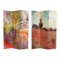 """Oriental Furniture - 6 ft. Tall Double Sided Works of Monet Canvas Room Divider - A richly colorful floor screen, with interestingly cropped, magnified sections of two classic paintings by Monet, """"Water Lilies"""" on one side and """"Coquelicots"""" or """"Poppies"""" on the other. These warm, attractive images are printed onto portable, durable, 3 panel canvas room dividers."""