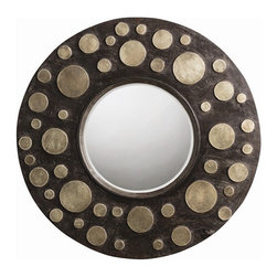 Arteriors Home - Everman Mirror - Everman Mirror features a hand carved Ebony wood frame with varying sizes of Brass clad discs surrounding the beveled inset mirror. Dimensions: 35.5 inch diameter x 1 inch depth. Weight: 35.9 pounds.