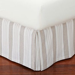 Everdell Stripe Pleated Bed-Skirt, Full, Natural - Bright awning stripes bring a crisply tailored look to the bed. Our Everdell bed skirt is sewn from linen/cotton and features split corners with inverted pleats. Skirt is made of a linen/cotton blend. Deck is pure cotton. Machine wash. Imported.