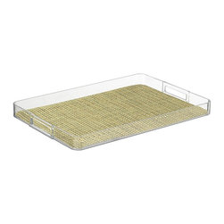 Kraftware - Handled Lucite Tray in Verde - Woven vinyl tray liner. Removable liner for easy cleaning. Stain resistant and easy to clean. Cut out handles for easy carry. Extra large size. Stain resistant fabric. Clean with a damp cloth or mild soap and water. Made from highest quality lucite. 19 in. L x 14 in. W x 4 in. H (2 lbs.)Kraftware's Woven Collection brings beauty and durability to the Table and Bar.