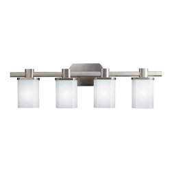 "KICHLER - KICHLER 5054NI Lege Modern / Contemporary Bathroom / Vanity Light - A clean and modern look with flattened oval, cased opal glass shades sitting upon a bobeche disk supported by a coordinating oval bar. Nickel finish. This 4 light bath bar is understated, but spirited. For use in bathrooms. 100 watt max. Fixture may be installed with glass up or down. Height from center of wall opening with glass up is 4"". U.L. listed for damp location."