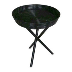 Padma's Plantation - Tripod Tray Table in Rustic Black - This cleverly designed tripod tray table offers style and usefulness. The tripod rattan legs support a round tray-style table top of woven rattan completed with a rustic black finish.