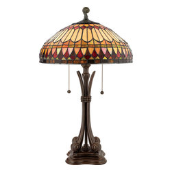 Quoizel - Quoizel Brushed Bullion Lamps - SKU: TF6660BB - This earthy style is a great way to bring the drama of Tiffany art glass into a more rustic or contemporary room setting. The hand-cut, iridescent art glass is arranged in a soft geometric pattern, and features the rich color palette of an Indian summer. Simply breathtaking.