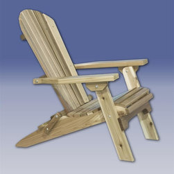Montana Woodworks - Montana Adirondack Chair (Lacquer) - Finish: LacquerConveniently folds for easy transportation or storage. Applicable for outdoor use. Can be used in a variety of settings from the front porch to the pool area or even in the flower bed for a functional piece of decorative art. 20-year limited warranty. Made from solid, American grown western red cedar. Hand-crafted in the US, each Montana Woodwork product is made from unprocessed, solid wood that highlights the character of its source tree with unique knots and grains. Made in USA. No assembly required. 36 in. W x 30 in. D x 36 in. HPerfect for those evenings when you just want to relax on the deck or by the pool and watch the sun go down. The deck chair by Montana Woodworks will provide you with the comfort and relaxation you deserve.