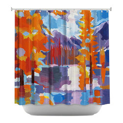 DiaNoche Designs - Shower Curtain Artistic - Flaming Foliage Longs Peak Bear Lake, Colorado - DiaNoche Designs works with artists from around the world to bring unique, artistic products to decorate all aspects of your home.  Our designer Shower Curtains will be the talk of every guest to visit your bathroom!  Our Shower Curtains have Sewn reinforced holes for curtain rings, Shower Curtain Rings Not Included.  Dye Sublimation printing adheres the ink to the material for long life and durability. Machine Wash upon arrival for maximum softness. Made in USA.  Shower Curtain Rings Not Included.