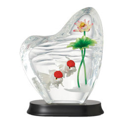 Franz Porcelain - FRANZ PORCELAIN COLLECTION Carassiusauratus And Lotus Lucite Sculpture FL00092 - Finished In Lead Free Glazes * Hand Painted By Franz Porcelain Artisans * FDA Approved Food/Plant Safe * New In The Original Box