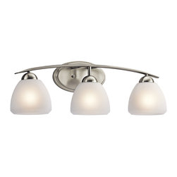 Kichler 3-Light Wall Mounted Bath Light - Brushed Nickel - Three Light Wall Mounted Bath Light. This 3 light bath Light. From the Kichler Calleigh collection features satin etched goblets of cased opal glass balancing on an arched and tapered arm in brushed nickel providing a clean, crisp contemporary flair. Width: 26, height: 8.5, extension: 7, height from center of wall opening: 2.5. Uses 3 100W max bulbs or 3 18-25W CFLS. May be installed with the glass up or down. Rated for damp locations.