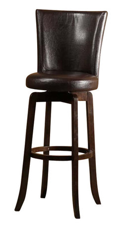 Hillsdale Furniture - Hillsdale Copenhagen Swivel Counter Stool with Brown Seat in Espresso - The Copenhagen stool is a comfortable classic. Made of solid hardwood with a espresso finish, the Copenhagen boasts a full, elegantly arched back and 360 swivel seat both covered in your choice of a black or brown vinyl. The Copenhagen is available in both bar and counter heights. Some assembly required.