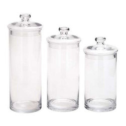 Benzara - Glass Set of 3 Jars - Glass Set of 3 Jars. Introducing a Set of 3 clear glass jars that allows you easy storage. Some assembly may be required.
