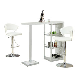 Monarch Specialties - Monarch Specialties 2343 3 Piece Glossy White Bar Table Set w/ 2301 Barstools - This stylish and contemporary bar table encompasses a cool feel ideal for entertaining your guests. This piece features a spot to hang individual glasses, a top surface ideal for making  cocktails, and two glass shelves that are perfect to stock all of your bar essentials and one with a convenient wine rack. The polished glossy white surfaces and chrome metal accents complete the look of this unit, making it a must-have item.