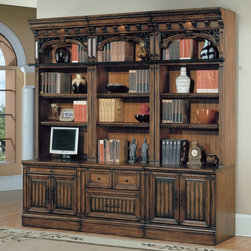 Parker House - Parker House Barcelona 6 Piece Open Bookcase - Antique Vintage Walnut Brown - PA - Shop for Bookcases from Hayneedle.com! Fall for the classic Spanish revival style. The Parker House Barcelona 6 Piece Open Bookcase - Antique Vintage Walnut has incredible details like nail head trim wrought iron scrollwork and a deeply distressed finish. It displays and illuminates your collectibles and offers ample storage space below. This bookcase set is well-made of poplar solids and maple veneers in an antique vintage walnut finish. About Parker HouseFamily-owned and family-operated Parker House Furniture is based in California and has been serving the fine furniture industry since 1946. The company's time-proven quality is an industry standard. Parker House continues its legacy with its newest line of expanding television consoles and entertainment wall systems plasma TV stands and accessories. Parker House takes pride in the quality of its furniture and is committed to making customer satisfaction its number one priority.