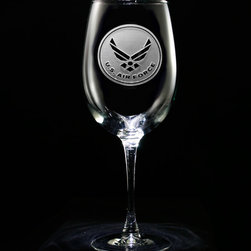 """Crystal Imagery, Inc. - Air Force Military Wine Glass, Engraved Etched Stemware Set - Our engraved Air Force wine glass is the perfect gift for an Air Force officer's promotion or retirement. Deeply carved using our sand carving technique, each Air Force wine glass is custom made to order. At 9"""" high by 3.5"""" wide, our wine glasses hold 19 oz. A set of these etched wine glasses will be the favorite gift at any special occasion for retiring military or even newly enlisted military personnel. Dishwasher safe. SOLD AS A SET OF 4."""