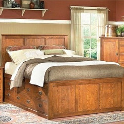 Prairie Mission Storage Panel Bed - With its classic mission lines and ample storage, you're sure to fall for the Prairie Mission Storage Bed. Sure to be an instant heirloom piece, this bed is hand-crafted from solid oak in a rich, natural finish, features a tall panel headboard, low panel footboard, and nine storage drawers with decorative round bail pulls.Bed DimensionsQueen: 86.5L x 65W x 56H inchesKing: 86.5L x 81W x 56H inchesCalifornia King: 90.5L x 77W x 56H inchesMastercraft Collections With a passion for unyielding quality, Mastercraft strives to build a beautiful product that will stand the test of time. Using only top-of-the-line materials and construction techniques, Mastercraft prides themselves on their superior designs and ability to provide their customers with the best possible value for their money.