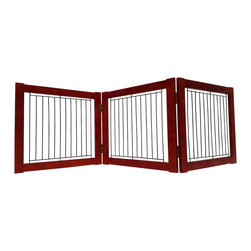 Welland - Welland Wood and Steel Designer Indoor Pet Gate, Light Cherry, Light Cherry, 54- - The panels of the folding Pet Gate slide to allow a range in length that accommodates a wide variety of doorways and openings. The elegant pine wood used for this product looks great in any room. The height of this pet gate is low enough to step over for ease of movement from room to room.