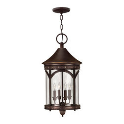 Hinkley Lighting - Hinkley Lighting Lucerne Transitional Outdoor Hanging Light X-BC2132 - This Hinkley Lighting outdoor hanging light features a cylindrical shape adorned with a blend of classic European and medieval inspired elements. From the Lucerne Collection, the arched windows frame the candelabra lights while an elegant Copper Bronze finish and clear bent glass shade pulls the design together.