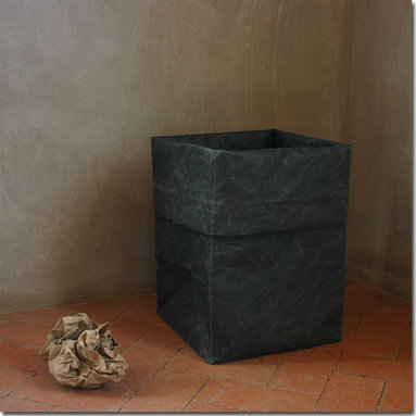 Handmade Paper Waste Bin - Our charcoal gray paper waste bin is handmade by artisans in Japan from durable, double walled paper.