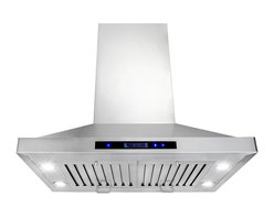 """AKDY - AKDY AG-Z9002 Stainless Steel Island Mount Range Hood Kitchen Hod, 30"""", Duct/Pip - This AG-Z9002 30"""" island range hood removes cooking odors from your kitchen quickly using its 3-speed, 870 CFM centrifugal exhaust fan. The baffle filter helps eliminate grease from the air and is washable for easy cleanup. Model available in 30"""", 36"""", and 48"""", optional recirculating kits are available as well."""