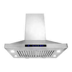 "AKDY - AKDY AG-Z9002 Stainless Steel Island Mount Range Hood Kitchen Hod, 30"", Duct/Pip - This AG-Z9002 30"" island range hood removes cooking odors from your kitchen quickly using its 3-speed, 870 CFM centrifugal exhaust fan. The baffle filter helps eliminate grease from the air and is washable for easy cleanup. Model available in 30"", 36"", and 48"", optional recirculating kits are available as well."