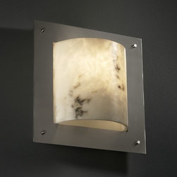 Justice Design Group - Justice Design Group FAL-5561 Framed Square 4-Sided ADA Compliant Wall Sconce - Justice Design Group FAL-5561 Framed Square 4-Sided ADA Compliant Wall Sconce from the LumenAria CollectionThe LumenAria� Collection offers the look of genuine carved alabaster without the cost. These faux alabaster fixtures combine many of your favorite Justice Design Group, LLC shapes with the warmth and beauty of an alabaster glow.From an elegant lamp atop a contemporary end table to a dramatic sconce illuminating a formal entryway, Justice Design offers a wide array of lighting solutions for residential and commercial settings. Create a mood, complement a theme, or simply add the perfect accent with a Justice Design decorative lighting fixture.