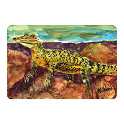 Caroline's Treasures - Alligator Kitchen or Bath Mat 20 x 30 - Kitchen or Bath Comfort Floor Mat This mat is 20 inch by 30 inch. Comfort Mat / Carpet / Rug that is Made and Printed in the USA. A foam cushion is attached to the bottom of the mat for comfort when standing. The mat has been permanently dyed for moderate traffic. Durable and fade resistant. The back of the mat is rubber backed to keep the mat from slipping on a smooth floor. Use pressure and water from garden hose or power washer to clean the mat. Vacuuming only with the hard wood floor setting, as to not pull up the knap of the felt. Avoid soap or cleaner that produces suds when cleaning. It will be difficult to get the suds out of the mat.