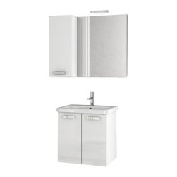 ACF - 22 Inch Glossy White Bathroom Vanity Set - This complete vanity set comes with a two door vanity cabinet, ceramic sink, vanity mirror, and short storage cabinet.