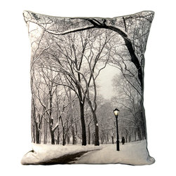 Tempo Luxury Home - Glacial Palace Pillow from the Winter Park Collection by Joe Ginsberg - Ice-capped trees create a fantastic canopy along a frozen pathway. A breathtaking glimpse of winter in NYC. Use this decorative pillow for an enchanting focal point anywhere in your home. Glacial Palace is printed on raw silk taffeta; velvet-textured, shimmering metallic backing in Twilight. Fill: 75% goose down; 25% feather. Each pillow from the Winter Park Collection is made to order and has an approximate lead-time of three weeks.