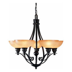 Volume Lighting - Volume Lighting V4125 Rainier 5 Light 1 Tier Chandelier - Five Light 1 Tier Chandelier from the Rainier CollectionGive your home a new look with this 5 light chandelier featuring majestic sandstone glass.Features: