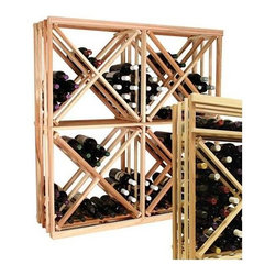 Wine Cellar Innovations - 2-Column Open Diamond Cube Wine Rack (Rustic Pine - Midnight Black Stain) - Choose Wood Type and Stain: Rustic Pine - Midnight Black Stain. Bottle capacity: 120. Two column wine rack. Custom and organized look. Versatile wine racking. Open sides and cross intersection inserts. Can accommodate just about any ceiling height. Optional base platform: 23.19 in. W x 13.38 in. D x 3.81 in. H (5 lbs.). 23.19 in. W x 13.5 in. D x 47.19 in. H (15 lbs.). Vintner collection. Made in USA. Warranty. Assembly Instructions. Rack should be attached to a wall to prevent wobble