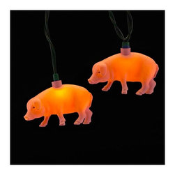 """Lamps Plus - Kids Ten Pink Pig String Lights - Add a little fun to your indoor or outdoor spaces with this set of ten string lights featuring little pink pigs. Perfect for entertaining or as an eye-catching accent in bedrooms and more these lights add personality and cheer. Includes four spare bulbs and green wire. Pig string lights. 10-light string. For indoor and outdoor use. Includes ten 12v .08A clear incandescent bulbs. Includes 4 spare bulbs and 1 fuse. Includes 30"""" of green lead wire. 12"""" of spacing between lights.   Pig string lights.  10-light string.  For indoor and outdoor use.  Includes ten 12v .08A clear incandescent bulbs.  Includes 4 spare bulbs and 1 fuse.  Includes 30"""" of green lead wire.  12"""" of spacing between lights."""
