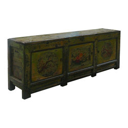 Chinese Rustic Green Flower Scenery Low TV Stand Table - This is an old low cabinet restored with touched up rustic green lacquer and oriental flower graphic on the doors. The top is designed as truck style opening. It is a nice decorative piece with its charming color finish as well as a low console sofa table or TV stand.