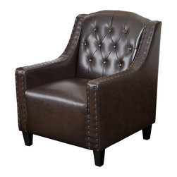Great Deal Furniture - Nottingham Tufted Leather Club Chair, Brown - Complete with tufts and nail studded accent, the Nottingham Leather Club Chair combines classic elegance with modern touches, for a contemporary and elegant chair. Place this in your living room, office or bedroom