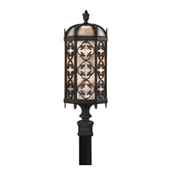 "Fine Art Lamps - Costa del Sol Outdoor Post Mount, 541480ST - Post mount in stylized quatrefoil design features Marbella wrought iron finish and subtle iridescent textured glass. Accommodates a 3"" post."