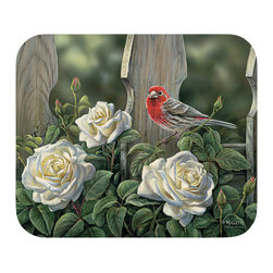 "540-House Finch & Roses Mouse Pad - Decorate your desk with your favorite art designs that look great and protect your mouse from scratches and debris. 100% Polyester face, 100% neoprene backing, permanently dye printed & fade resistant. 9.25"" x 7.5"""