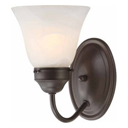 Volume Lighting - Volume Lighting V1571 Marti 1 Light Bathroom Sconce with Alabaster Glass Bell Sh - One Light Bathroom Sconce with Alabaster Glass Bell Shade from the Marti CollectionCharming and captivating, this 1 light bathroom sconce features a classy alabaster glass bell shade.Features: