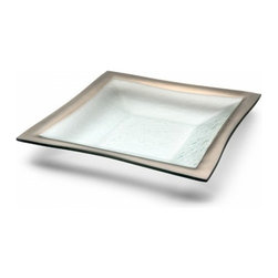"""Annieglass - Roman Antique Platinum Trim Square Bowl - Annieglass handmade Roman Antique square bowl in platinum trim. Chip resistant, safe for dining, dishwasher safe and highly durable. Handmade glass 12 x 12"""" square bowl produced in the U.S.A. Durable, chip-resistant and dishwasher safe. Banded with genuine platinum. Each Annieglass piece is handmade from architectural quality glass with Annie Morhauser's trademark slumping process  which is a uniquely developed glass bending technique. Each piece is highly durable, dishwasher safe, chip resistant, and safe for dining."""