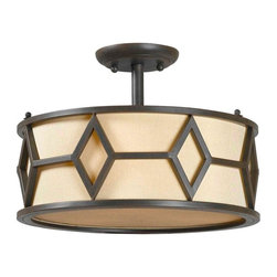 World Imports - Decatur 3-Lights Semi Flush Mount, Rust - Uses 3 medium bulbs, 60 watts (not included)
