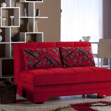 Modern Love Seats Twist Story Loveseat Sleeper Sofa Bed in Red