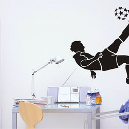 StickONmania - Soccer Player Kicking Sticker - A nice vinyl sticker and wall art design for your home Decorate your home with original vinyl decals made to order in our shop located in the USA. We only use the best equipment and materials to guarantee the everlasting quality of each vinyl sticker. Our original wall art design stickers are easy to apply on most flat surfaces, including slightly textured walls, windows, mirrors, or any smooth surface. Some wall decals may come in multiple pieces due to the size of the design, different sizes of most of our vinyl stickers are available, please message us for a quote. Interior wall decor stickers come with a MATTE finish that is easier to remove from painted surfaces but Exterior stickers for cars,  bathrooms and refrigerators come with a stickier GLOSSY finish that can also be used for exterior purposes. We DO NOT recommend using glossy finish stickers on walls. All of our Vinyl wall decals are removable but not re-positionable, simply peel and stick, no glue or chemicals needed. Our decals always come with instructions and if you order from Houzz we will always add a small thank you gift.