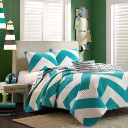 Mi-Zone - Mizone Aries 4-piece Quilt Set - Grace your bedroom with this modern quilt set. This four-piece set features a bold blue chevron patter,microfiber backing material,and an ultra-soft feel. Constructed from polyester material,this warm quilt set is also machine washable.