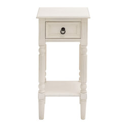 ecWorld - Urban Designs Square Wooden Accent End Table with Drawer - Cream - Strength in simplicity strikes a statement in your space with the unique design and transitional contemporary style.