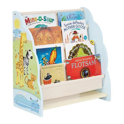 Guidecraft - Guidecraft Savanna Smiles Book Display Multicolor - G86800 - Shop for Childrens Toy Boxes and Storage from Hayneedle.com! The Guidecraft Savanna Smiles Book Display is a fun way to showcase their favorite bedtime stories. This wooden display features four canvas pockets that provide plenty of room to present the cover illustrations of every book comic and magazine in their collection clearly so children can always find their favorite read. The side panels are hand-painted with striped and spotted animals like lions giraffes hippos and more playing on the colorful savannah landscape. Some assembly is required.About GuidecraftGuidecraft was founded in 1964 in a small woodshop producing 10 items. Today Guidecraft's line includes over 160 educational toys and furnishings. The company's size has changed but their mission remains the same; stay true to the tradition of smart beautifully crafted wood products which allow children's minds and imaginations room to truly wonder and grow.Guidecraft plans to continue far into the future with what they do best while always giving their loyal customers what they have come to expect: expert quality excellent service and an ever-growing collection of creativity-inspiring products for children.